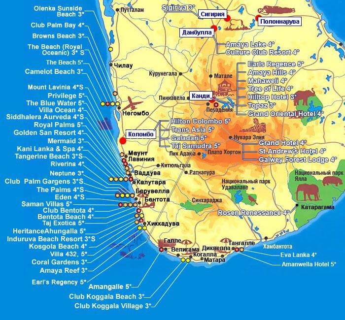 отели на карте