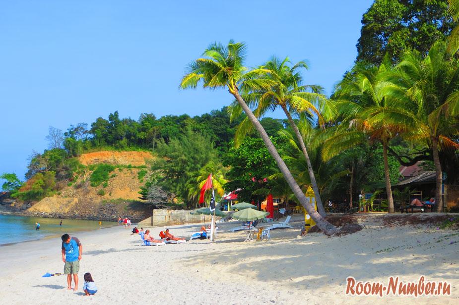 Пальмы на пляже Pantai Tengah