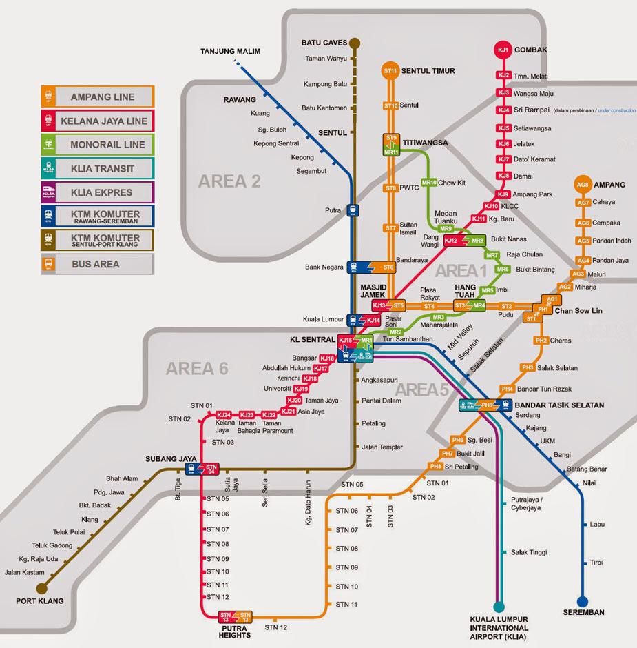 Схема метро Куала Лумпура