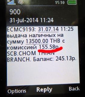смс комиссия банка