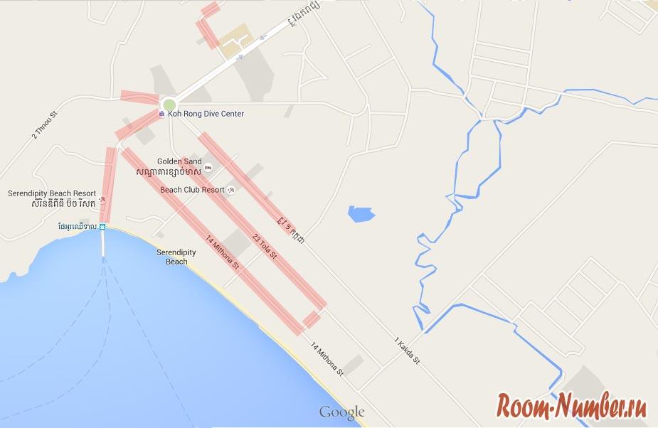 Карта улиц, на которых можно найти жильё в аренду в Сиануквиле