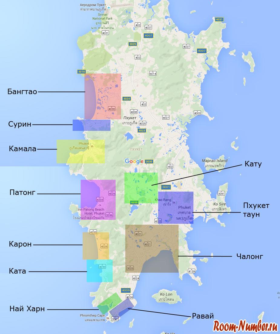 Карта районов Пхукета