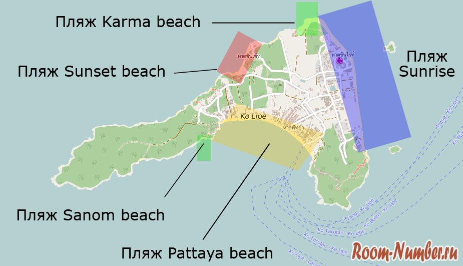 Пляжи Ко Липе на карте