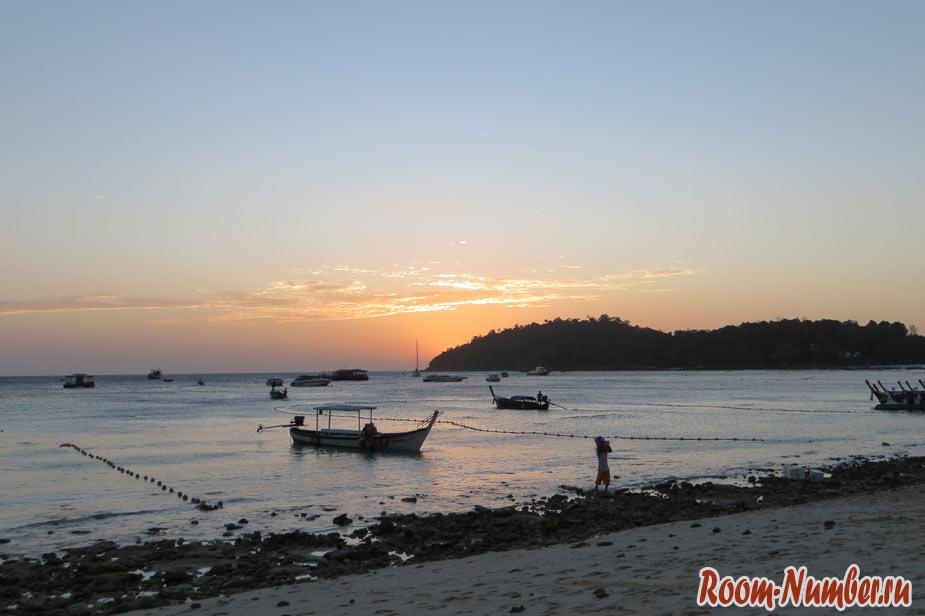 закат на ко-липе и отлив в море