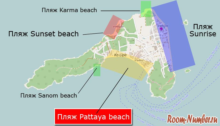 Пляж Паттайя Ко Липе на карте