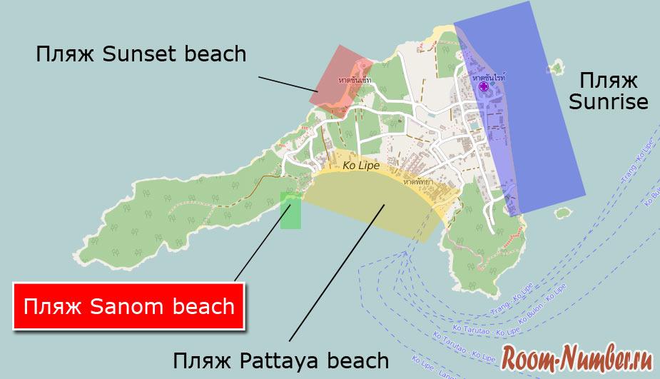 Пляж саном бич на карте ко липе