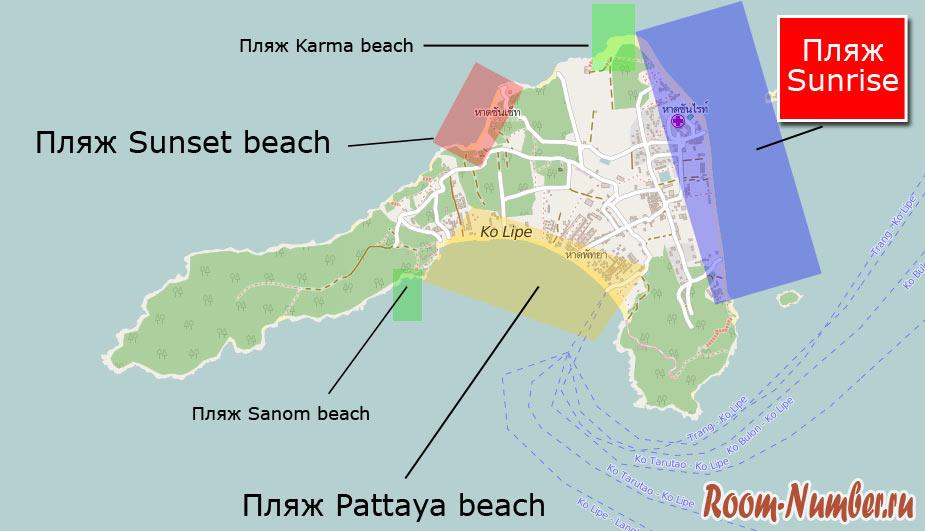 пляж санрайз на карте