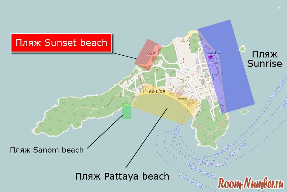 пляж сансет на карте