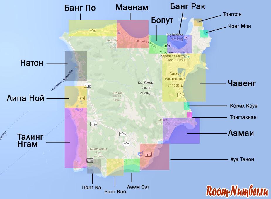 карта районов и пляжей самуи (samui map)