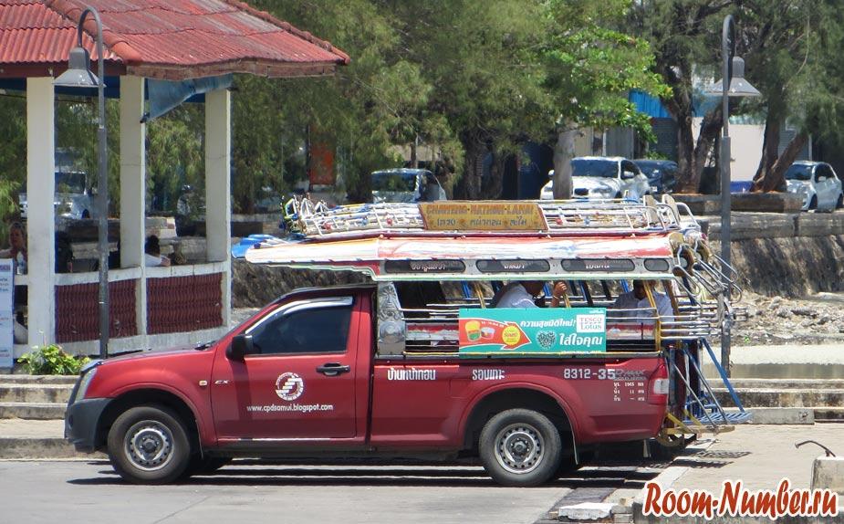Общественный транспорт на Самуи. Маршруты сонгтео на карте