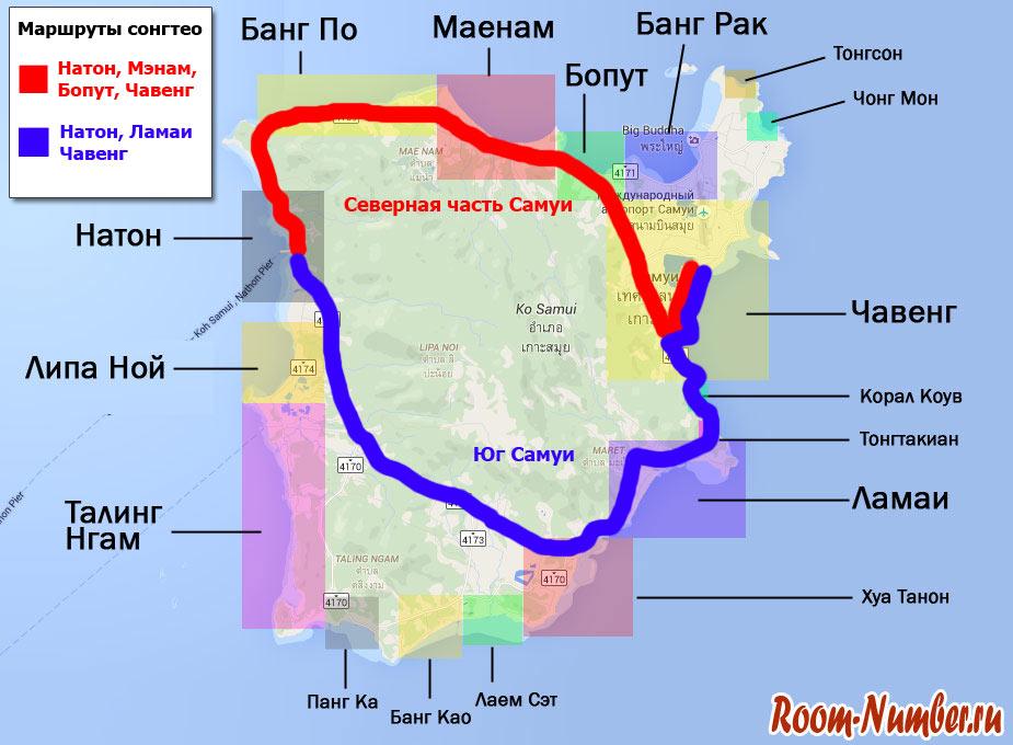 карта маршрутов сонгтео на самуи