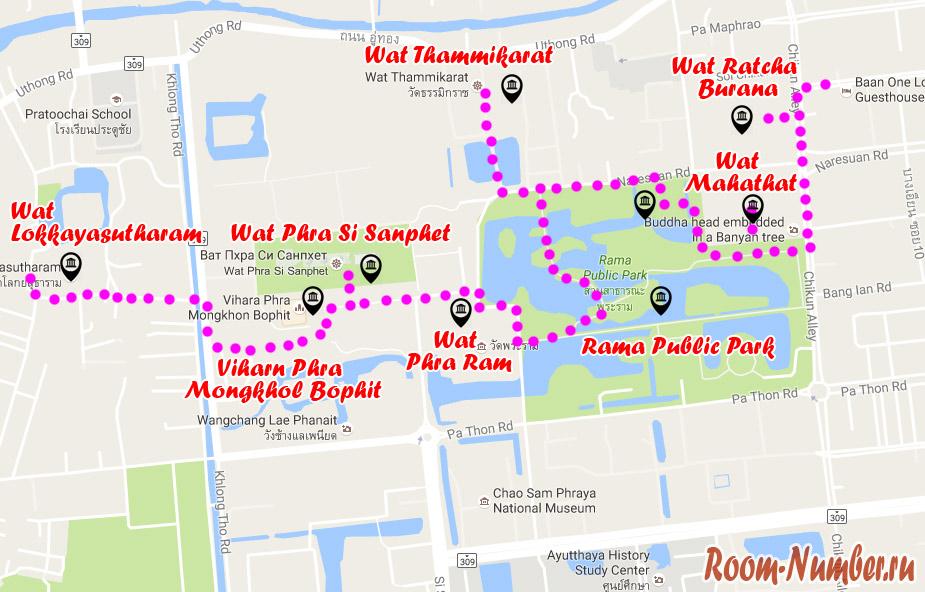 Карта - наш маршрут по Аюттайе