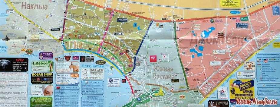 Карта движения тук туков в Паттайе
