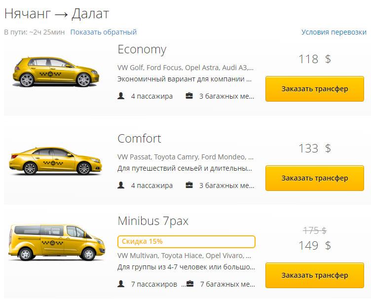 такси нячанг далат