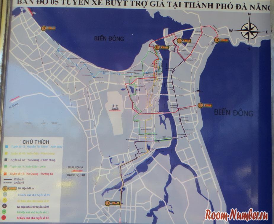 Схема маршрутов автобусов в дананге