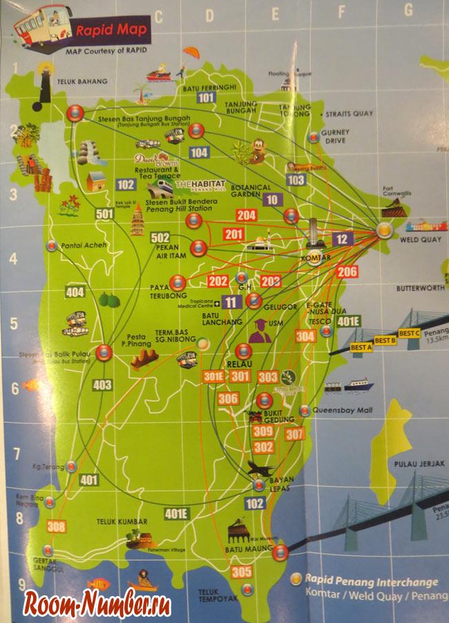 схема маршрутов автобусов на пенанге