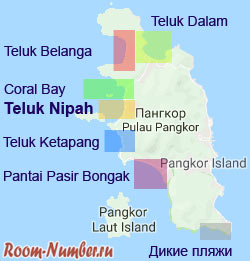 Карта пляжей острова Пангкор