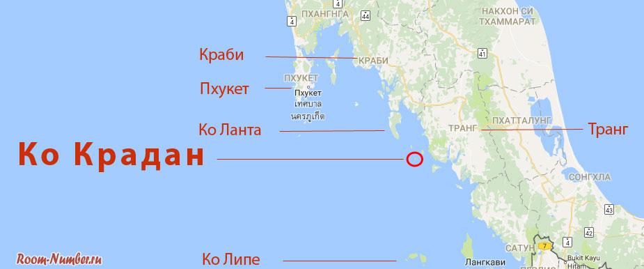 Ко Крадан на карте таиланда