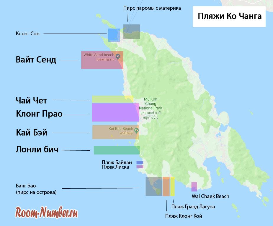 карта пляжей Ко Чанга