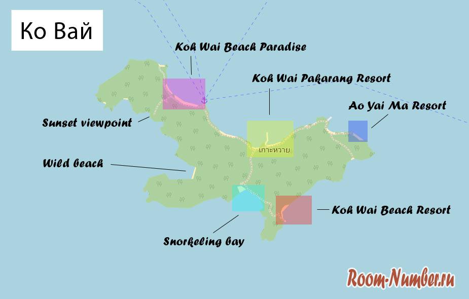 карта острова ко вай, схема пляжей и отелей
