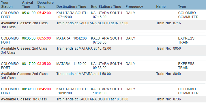 расписание поездов из коломбо в калутару