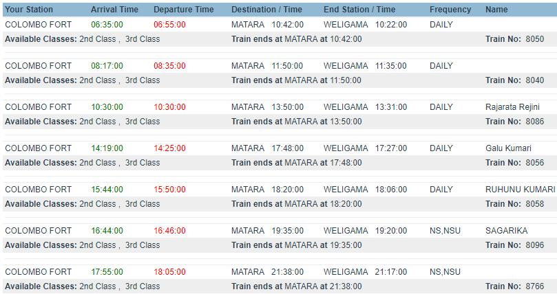 расписание поездов colombo - weligama