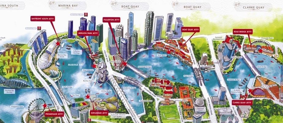 Схема маршрута речного круиза по Сингапуру