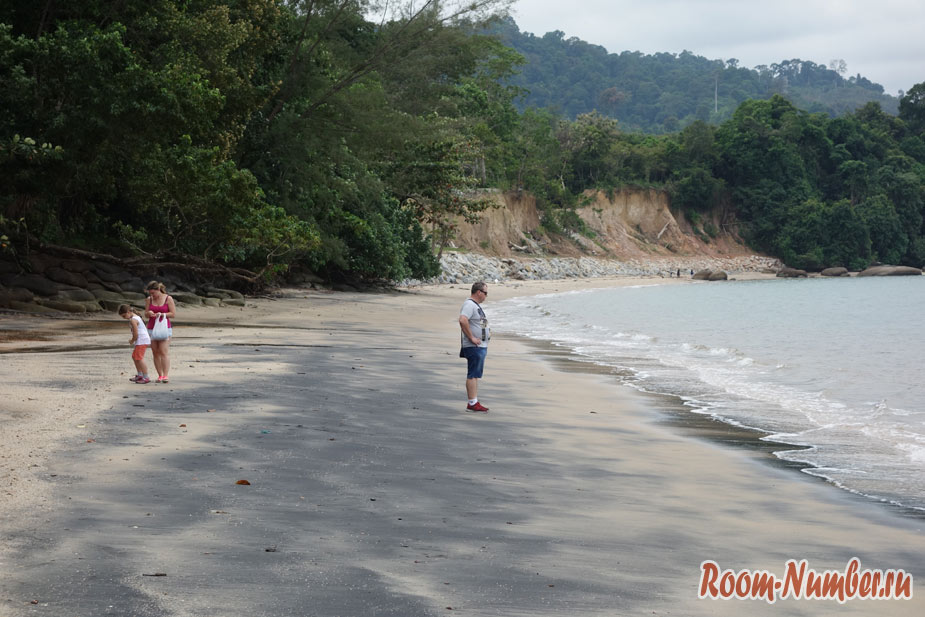 Туристы гуляют по пляжу с черным песком