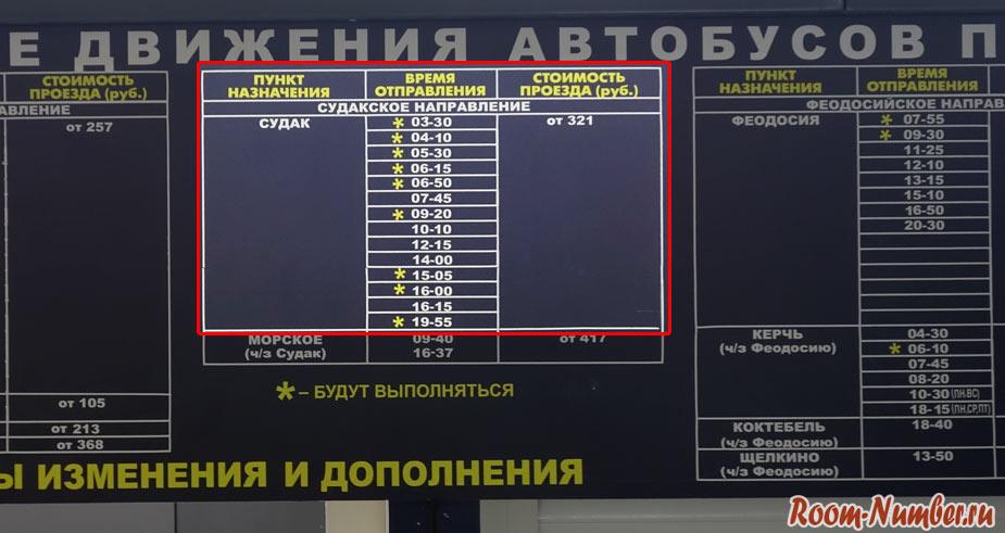 расписание автобусов аэропорт Симферополь - Судак