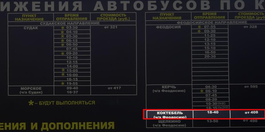 Расписание автобусов из аэропорта Симферополь в Коктебель