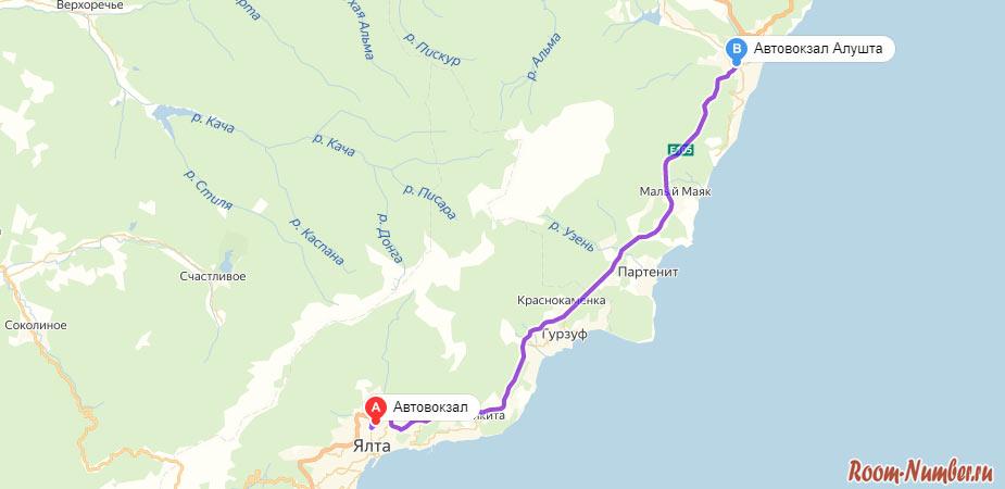 карта маршрута от алушты до ялты