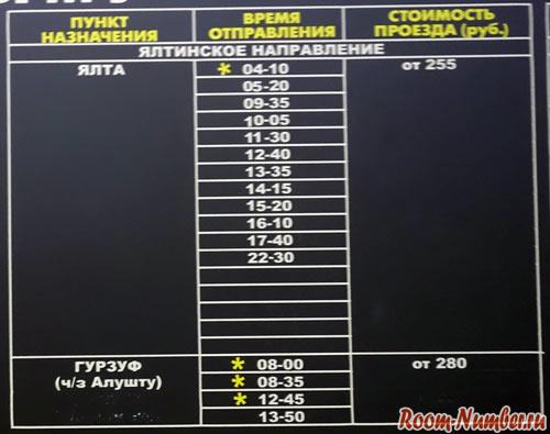 расписание автобусов симферополь аэропорт ялта