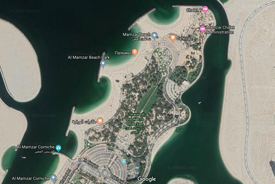 Пляж Аль Мамзар карта