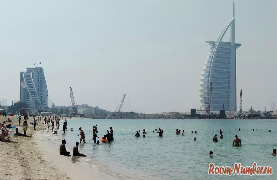 Пляж Джумейра в Дубае (Jumeirah Beach). Пляж, с которого видно отель Парус