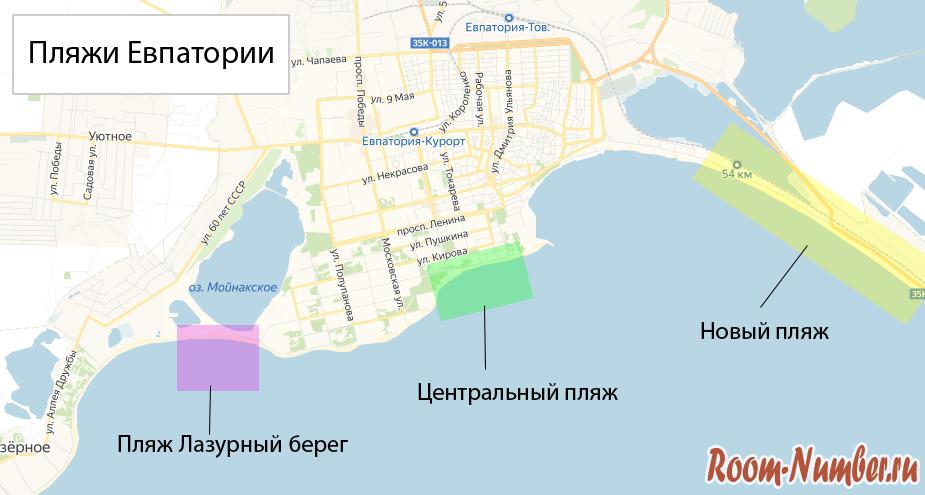 Карта пляжей Евпатории